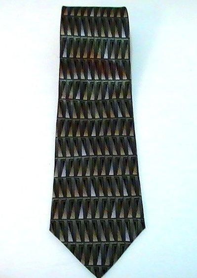 Image 2 of Necktie Tie Palatina Olive Geometric Print Silk