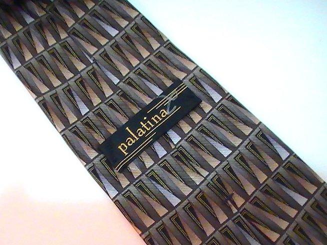 Image 3 of Necktie Tie Palatina Olive Geometric Print Silk