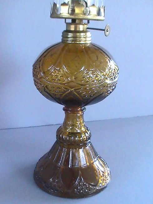 Image 1 of Vintage Pedestal Oil Lamp Amber Hobnail and Arches 16.5 inch OOS
