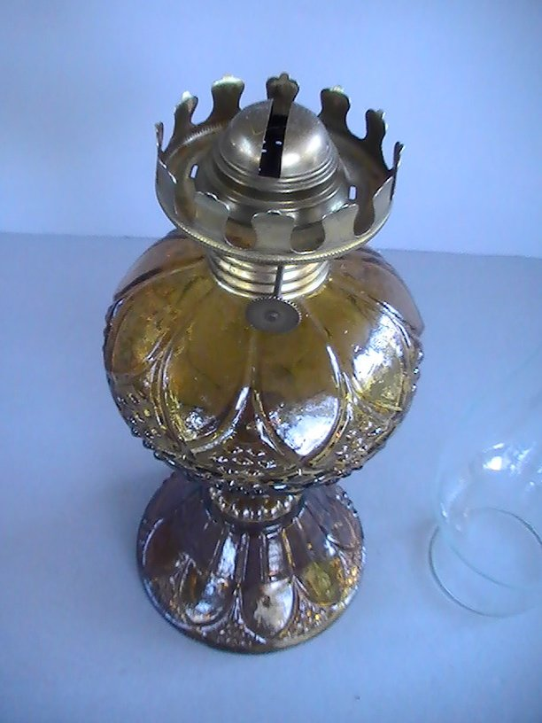 Image 2 of Vintage Pedestal Oil Lamp Amber Hobnail and Arches 16.5 inch OOS