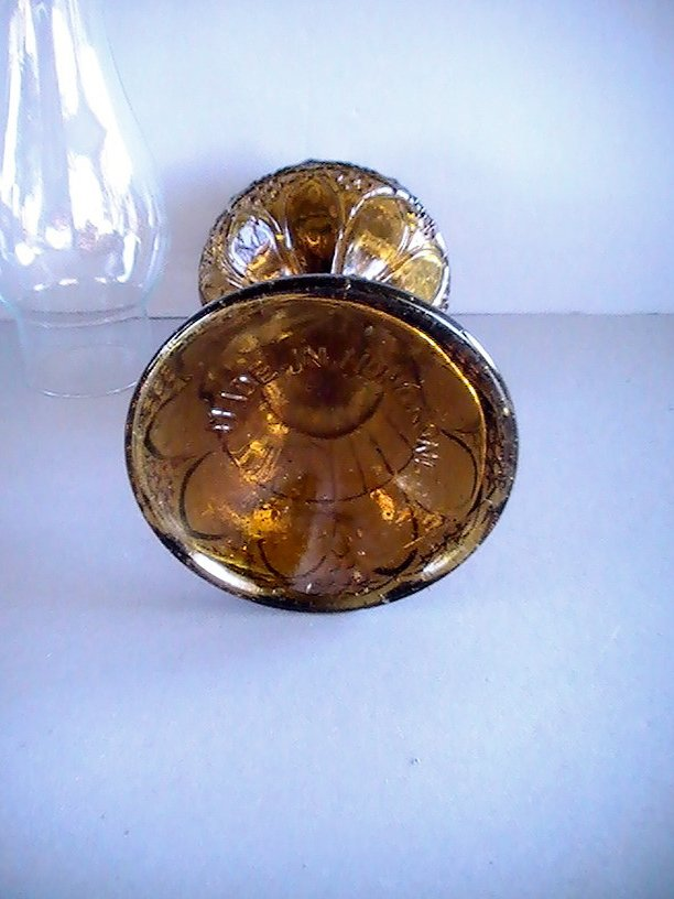 Image 4 of Vintage Pedestal Oil Lamp Amber Hobnail and Arches 16.5 inch OOS