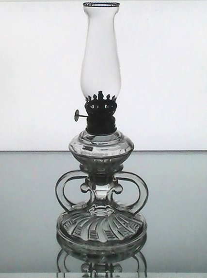 Vintage Pegged Oil Lamp Clear 3 section 10.25 x 4.5 Early 1900's