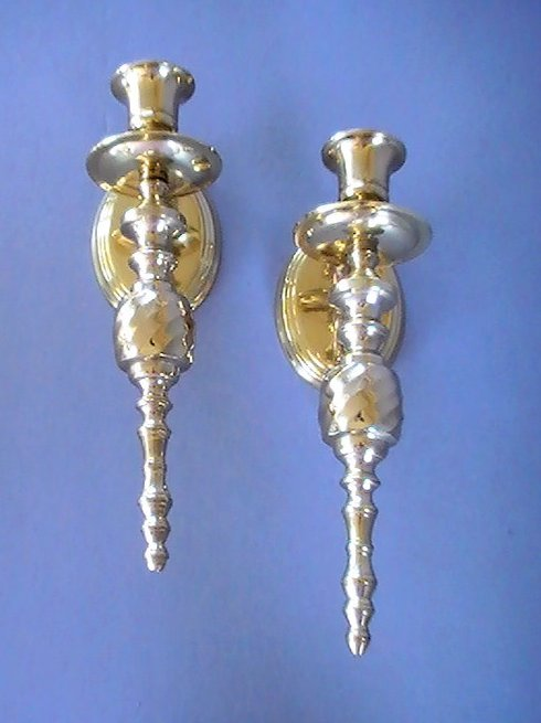 Solid Brass Wall Candle Sconces Swirled Urn Post Set of 2 Homco 1207-DR