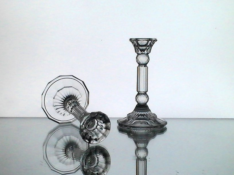 Image 1 of Vintage Crystal Column Candle Sticks Fancy  5.25 x 3