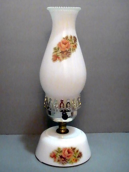 Vintage Milk Glass Hurricane Table Lamp With Floral Accents 13 inches