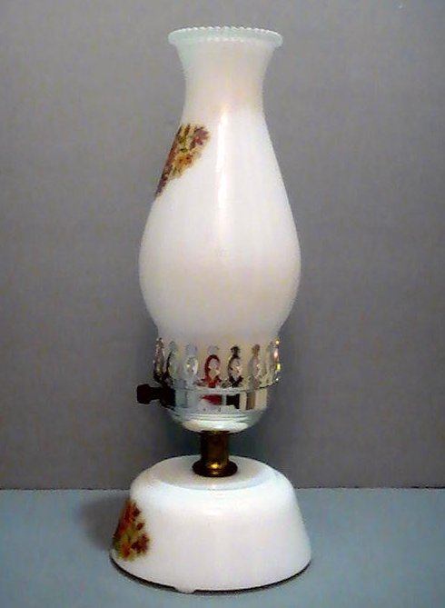 Image 1 of Vintage Milk Glass Hurricane Table Lamp With Floral Accents 13 inches