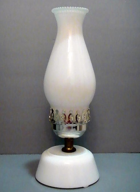 Vintage Milk Glass Hurricane Table Lamp With Floral