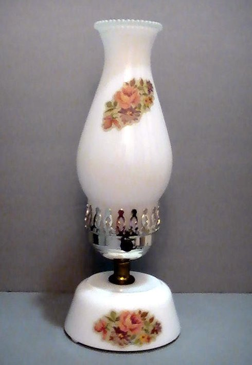 Image 3 of Vintage Milk Glass Hurricane Table Lamp With Floral Accents 13 inches