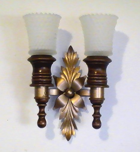 Home Interiors Mediterranean Wood and Brass Wall Sconce