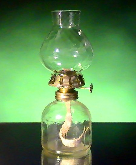 Image 1 of Miniature Oil Lamp Clear Paneled Base with Swirled Shade 8 x 3.5