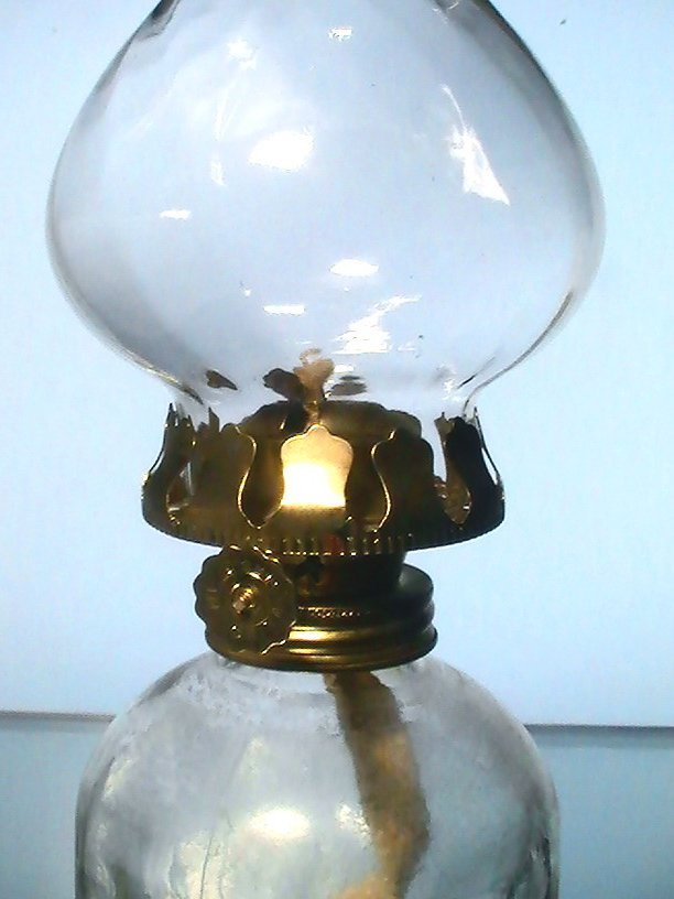 Image 2 of Miniature Oil Lamp Clear Paneled Base with Swirled Shade 8 x 3.5