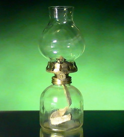 Image 4 of Miniature Oil Lamp Clear Paneled Base with Swirled Shade 8 x 3.5