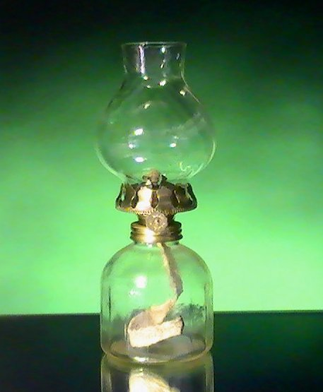 Image 5 of Miniature Oil Lamp Clear Paneled Base with Swirled Shade 8 x 3.5