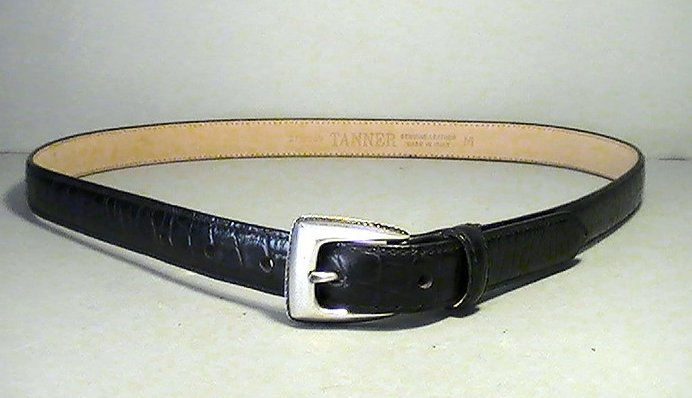 Leather Belt Black Croc Skinny with Silver Buckle Tanner Medium