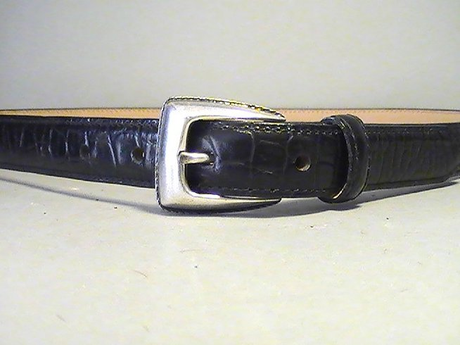 '.Belt Black Croc Skinny Medium.'