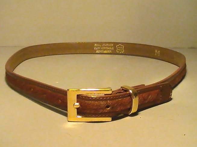 Leather Belt Brown Pony Hair Skinny with Gold Buckle Tanner Medium