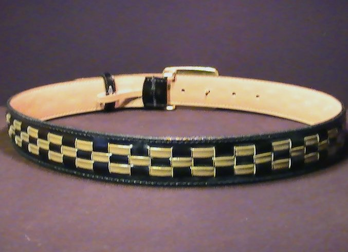 Leather Belt Black Brown Weaved with Gold Buckle Med 5291