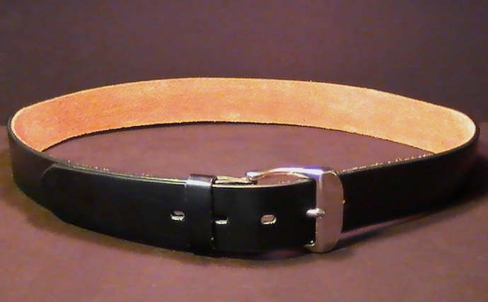 Leather Belt Black with Silver Buckle 1.5 inch wide size Med 3823