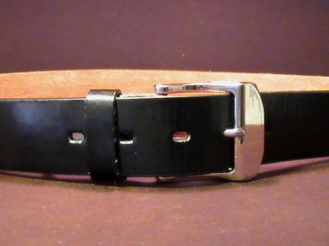 '.Leather Belt Black Silver MED.'