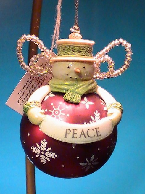 Image 2 of Grasslands Road Snowman Ornament Peace Holiday Christmas