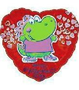 Mylar Balloon Valentines Dinosaur 18 in Lot of 5 NIP Add a Name