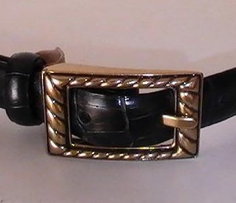 Leather Belt Black Lg Etienne Aigner Alligator Antique Brass Buckle 35 - 39 inch