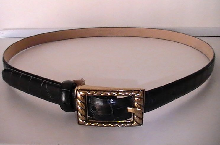 '.Leather Belt Black Lg Gator.'