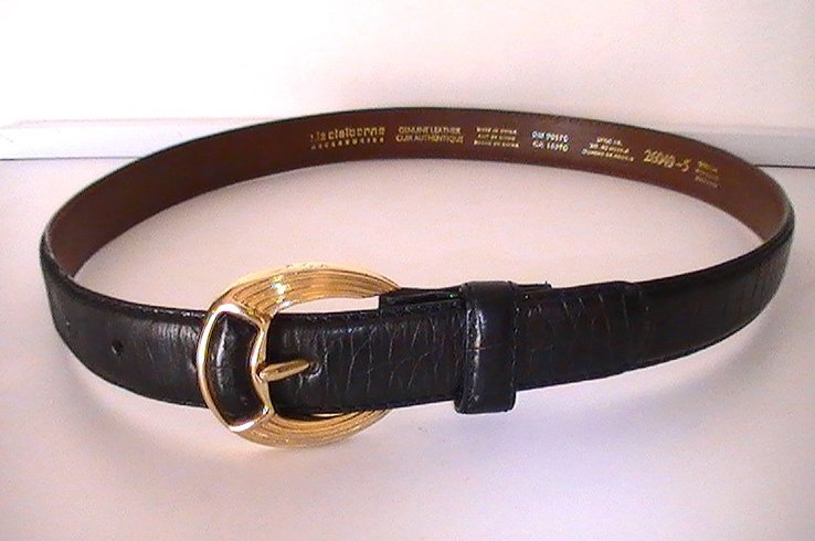 Leather Belt Black Medium Liz Claiborne Crocodile 26049 Gold Buckle