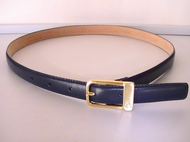 Leather Belt Blue Medium Liz Claiborne 2522 Brass Buckle with logo