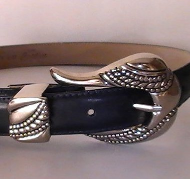 Leather Belt Navy Blue Small Lady Captiva 8437 Heavy Silver Buckle