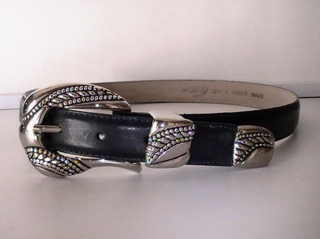 Image 1 of Leather Belt Navy Blue Small Lady Captiva 8437 Heavy Silver Buckle