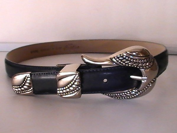 Image 2 of Leather Belt Navy Blue Small Lady Captiva 8437 Heavy Silver Buckle