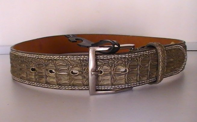 Leather Belt Gray Crocodile Silver Buckle Size Small