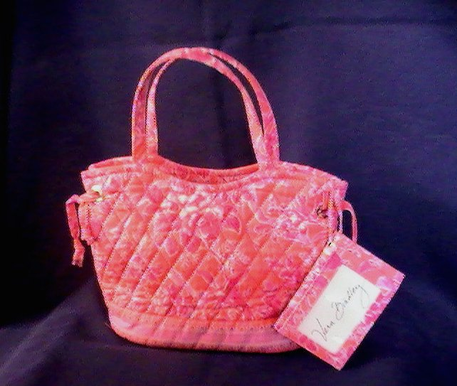 Vera Bradley Hand Bag Satchel Hope Toile Salmon Pink