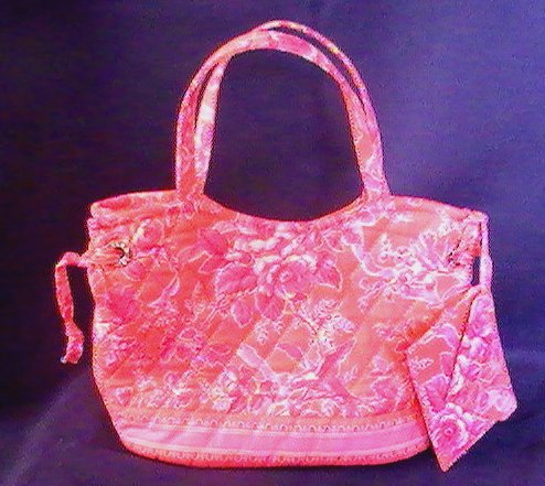 Image 1 of Vera Bradley Hand Bag Satchel Hope Toile Salmon Pink