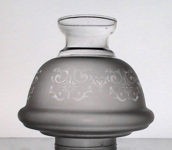 Image 0 of Hurricane Lamp Shade Frosted Filigree 2 7/8 fitter x 6 x 2 7/8 Short Neck