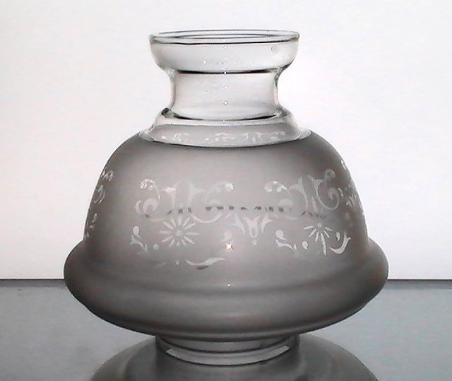 Image 1 of Hurricane Lamp Shade Frosted Filigree 2 7/8 fitter x 6 x 2 7/8 Short Neck