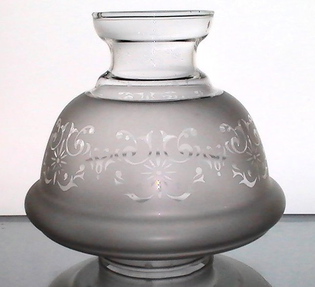 Image 2 of Hurricane Lamp Shade Frosted Filigree 2 7/8 fitter x 6 x 2 7/8 Short Neck
