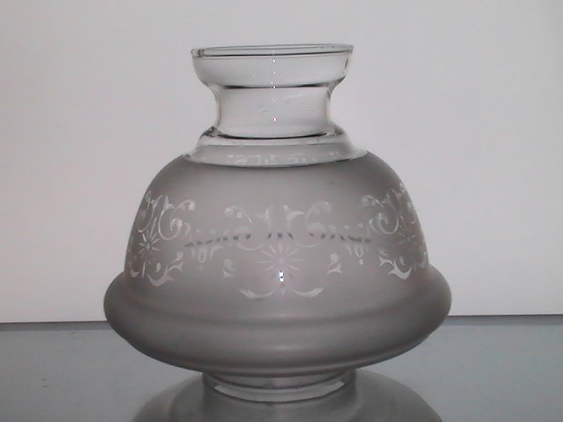 Image 3 of Hurricane Lamp Shade Frosted Filigree 2 7/8 fitter x 6 x 2 7/8 Short Neck