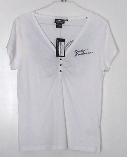 Harley Davidson Ladies Top XL Short Sleeve Embroidered White Blue