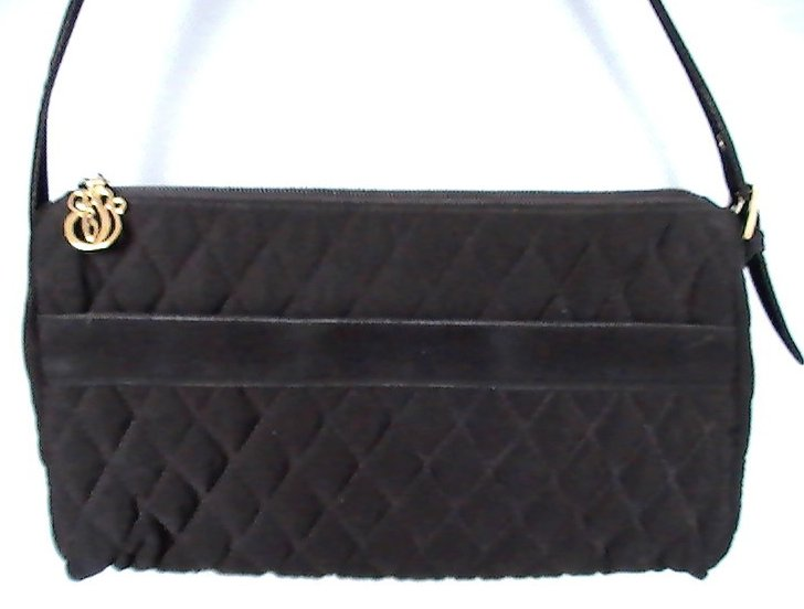 Vera Bradley Black Baguette Quilted Microfiber Shoulder Bag