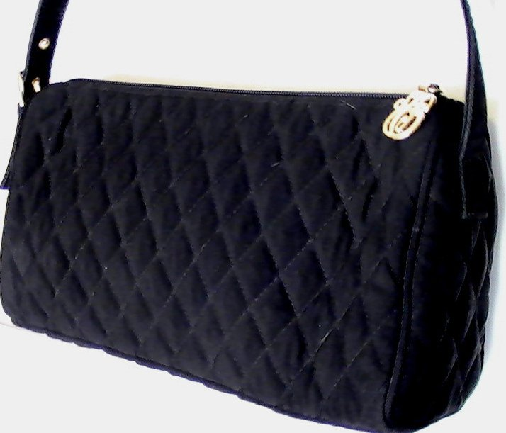Image 1 of Vera Bradley Black Baguette Quilted Microfiber Shoulder Bag