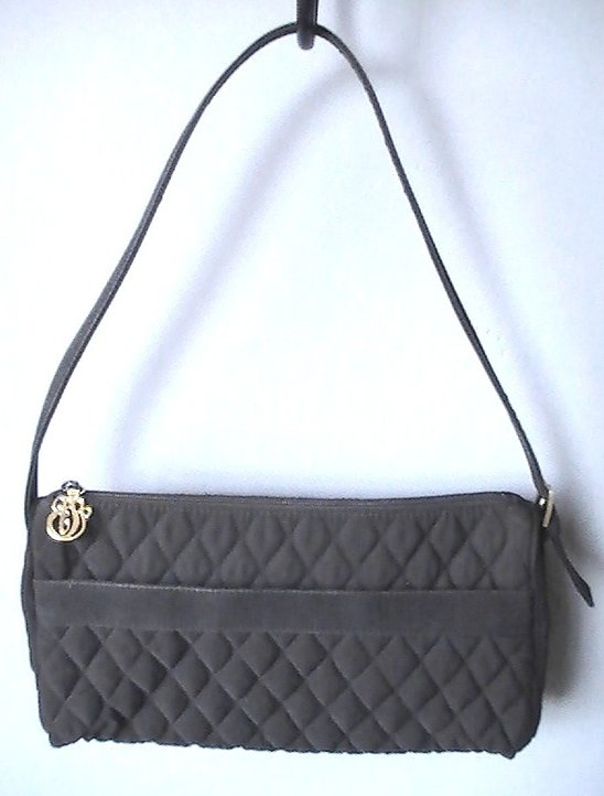 Image 2 of Vera Bradley Black Baguette Quilted Microfiber Shoulder Bag