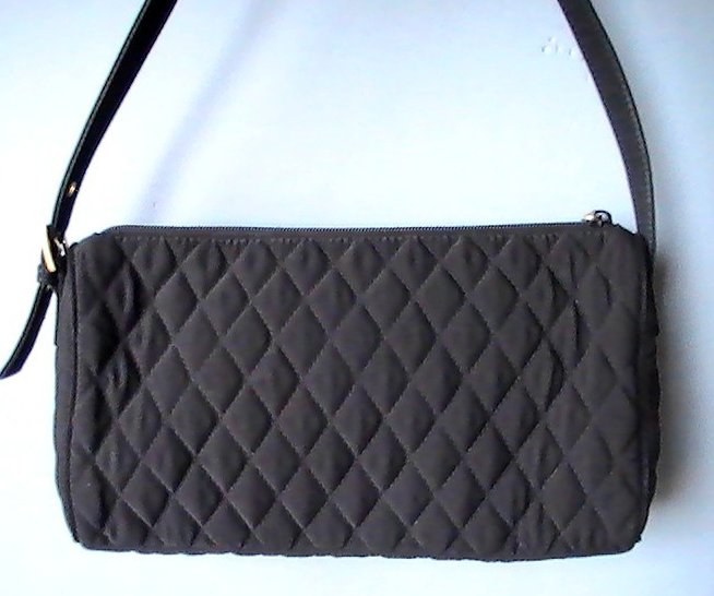 Image 3 of Vera Bradley Black Baguette Quilted Microfiber Shoulder Bag