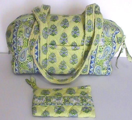 Vera Bradley Duffle Shoulder bag Citrus Green with matching Coin Purse Green