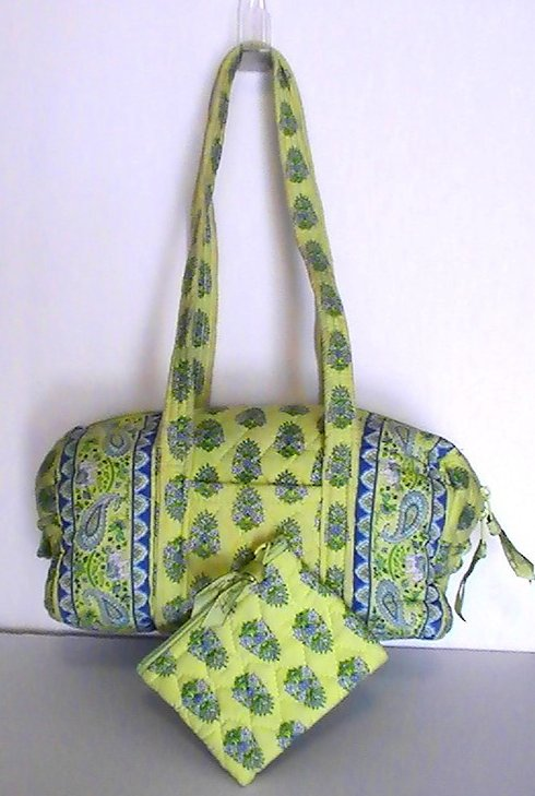 Image 1 of Vera Bradley Duffle Shoulder bag Citrus Green with matching Coin Purse Green