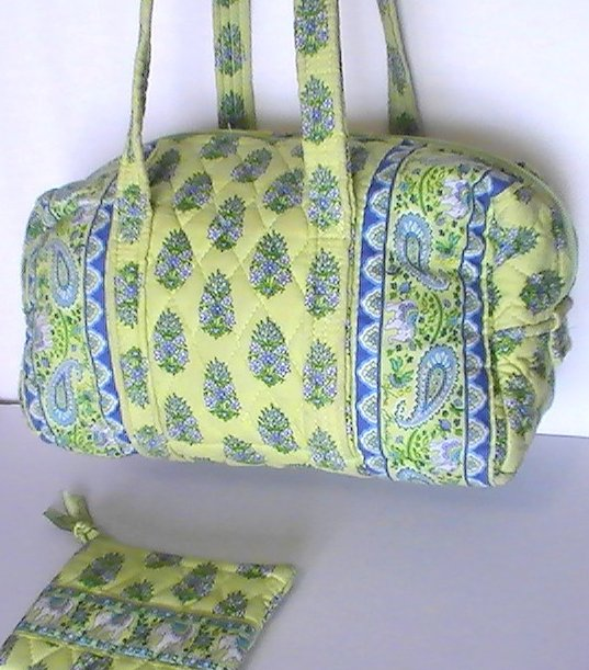 Image 2 of Vera Bradley Duffle Shoulder bag Citrus Green with matching Coin Purse Green