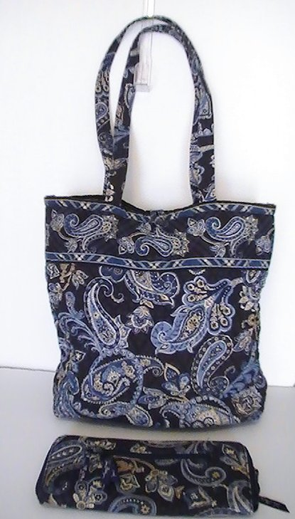 Vera Bradley Large Tote Windsor Navy with matching Travel Wallet Blue Large