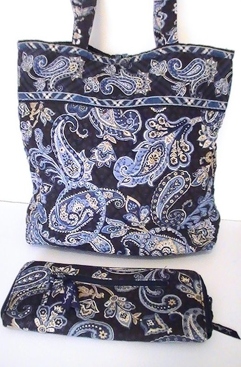 Image 1 of Vera Bradley Large Tote Windsor Navy with matching Travel Wallet Blue Large