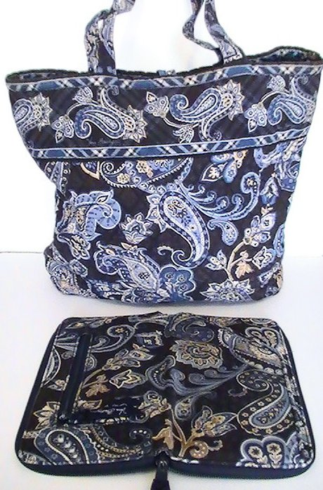 Image 2 of Vera Bradley Large Tote Windsor Navy with matching Travel Wallet Blue Large